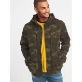 Built-In Flex Stowaway-Hood Camo Military Jacket for Men