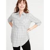 Maternity Plaid Twill Classic Shirt