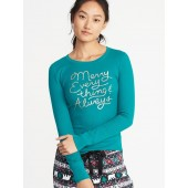 Slim-Fit Graphic Thermal-Knit Top for Women