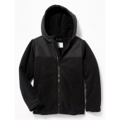 Mixed-Fabric Sherpa-Lined Hooded Jacket for Boys