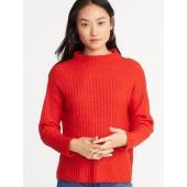 Mock-Neck Rib-Knit Sweater for Women