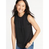 Relaxed Sleeveless Ruffle-Trim Satin Top for Women