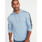Lightweight Jersey Sleeve-Stripe Pullover Hoodie for Men