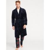 Plush Sherpa Tie-Belt Robe for Men