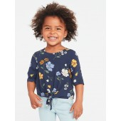 Floral Tie-Front Top for Toddler Girls