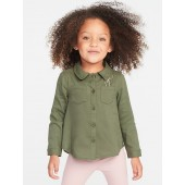 Button-Front Pocket Shirt for Toddler Girls