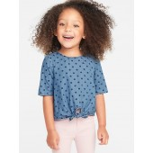 Chambray Tie-Front Top for Toddler Girls