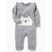 French-Terry Bear-Critter One-Piece for Baby