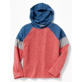 Color-Blocked Sweater-Knit Hooded Tee for Boys