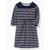 Striped Soft-Brushed Jersey Fit & Flare Dress for Girls