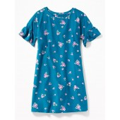 Floral-Print Ruffle-Sleeve Swing Dress for Girls