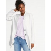 Soft-Brushed Button-Front Coat for Women