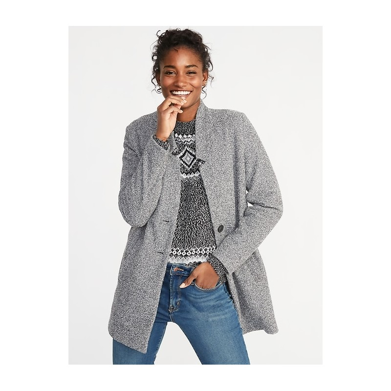 Textured Boucle Button-Front Coat for Women