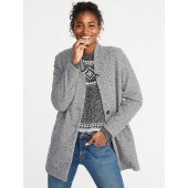 Oversized Textured Boucle Button-Front Coat for Women