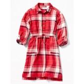 Plaid Waist-Defined Twill Shirt Dress for Girls