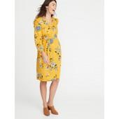 Maternity Ruffle-Shoulder Tie-Belt Shirt Dress