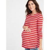 Maternity Relaxed Slub-Knit Boat-Neck Tee
