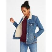 Sherpa-Lined Denim Jacket for Women