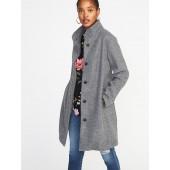 Boucle Funnel-Neck Coat for Women