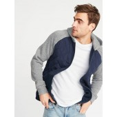 Quilted Canvas/Sweater-Fleece Hooded Jacket for Men