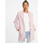 Oversized Soft-Brushed Button-Front Coat for Women