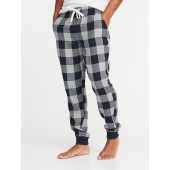 Patterned Flannel Joggers for Men