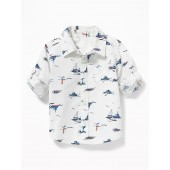 Printed Poplin Roll-Sleeve Shirt for Baby
