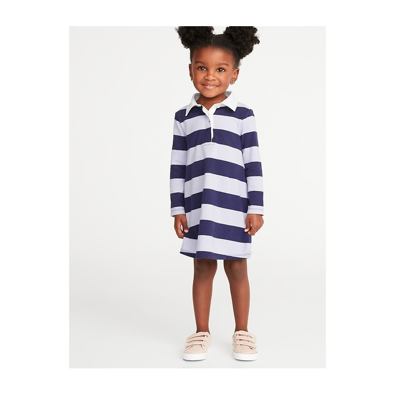 Bold-Stripe Rugby Dress for Toddler Girls