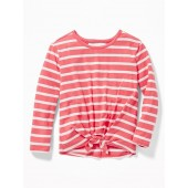Tie-Hem Cut-Out Back Tee for Girls
