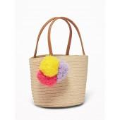 Straw Pom-Pom Tote for Toddler Girls