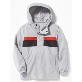 Color-Blocked Nylon Pullover Anorak Hoodie for Boys