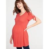 Maternity Slub-Knit Tie-Sleeve Peplum-Hem Tunic