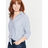 Relaxed Striped Tie-Hem Shirt for Women