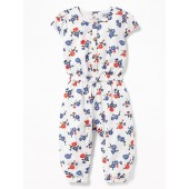 Printed Linen-Blend Jumpsuit for Baby