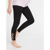 Maternity Lattice-Hem 7/8-Length Yoga Pants