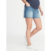 Maternity Full-Panel Boyfriend Raw-Edged Denim Shorts - 5-inch inseam