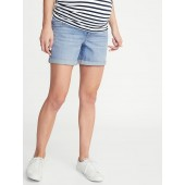 Maternity Front-Low Panel Distressed Boyfriend Denim Shorts - 5-inch inseam