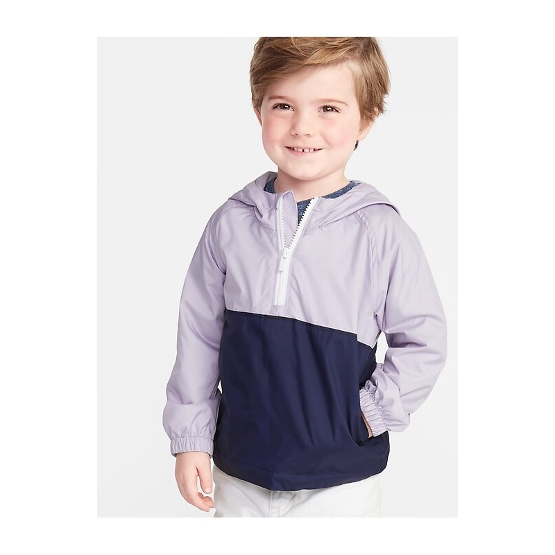Color-Blocked 1/2-Zip Hooded Windbreaker for Toddler Boys