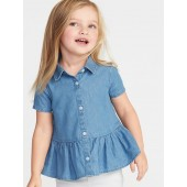 Chambray Peplum-Hem Shirt for Toddler Girls