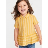Striped Peplum-Hem Shirt for Toddler Girls