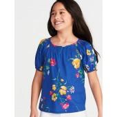 Floral-Print Slub-Weave Puff-Sleeve Top for Girls