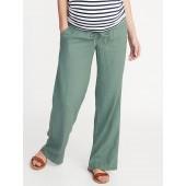 Maternity Rollover-Waist Linen-Blend Pants