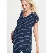 Maternity Tie-Sleeve Peplum-Hem Tunic
