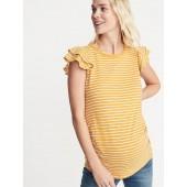 Maternity Slub-Knit Ruffle-Sleeve Tee