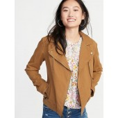 Twill Moto Jacket for Women