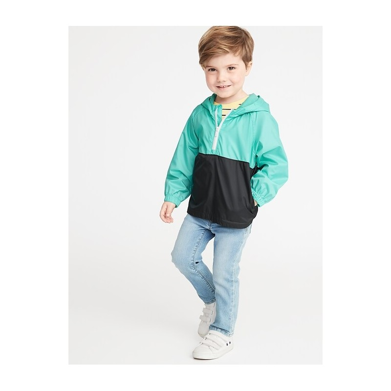 Color-Blocked 1/2-Zip Hooded Windbreaker for Toddler Boys