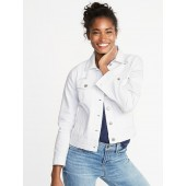 Distressed White Denim Jacket for Women