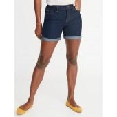 Mid-Rise Slim Denim Shorts for Women - 5-inch inseam