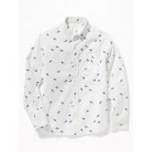 Bird-Print Built-In Flex Poplin Shirt for Boys