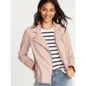Twill Moto Jacket for Women